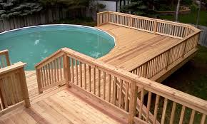 Above Ground Pool Deck Ideas Railing Jbeedesigns Outdoor