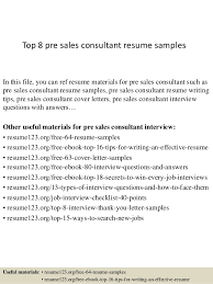 Top   pre sales consultant resume samples SlideShare Top   pre sales consultant resume samples In this file  you can ref resume materials
