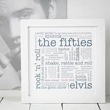 60th birthday gift the 1950s personalised print
