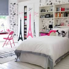 Gorgeous White Bedroom With Paris Teen Girl Room Theme Decor Plus Pink  Folding Chair Idea