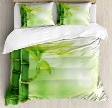 plant duvet cover set chinese ecology picture of bamboo sticking out of the water serene atmosphere decorative bedding set with pillow shams emerald
