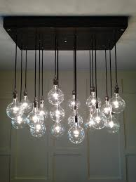 modern glass lighting. Custom Industrial Chandelier With Modern Glass Pendants In Polished Nickel Sockets Hung From Rayon Cord Attached To Premium Base Lighting Y