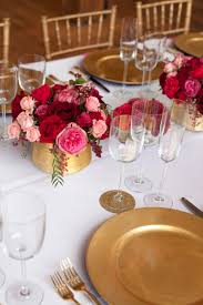 pink red gold wedding table ideas 30