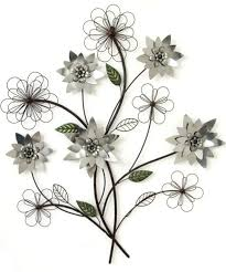 inspiring design silver metal wall art interior designing flower branch blue and contemporary modern