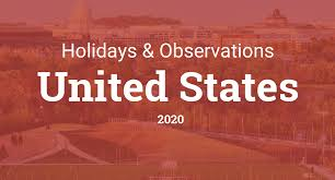 2020 Calendar Printable With Us Holidays Holidays And Observances In United States In 2020