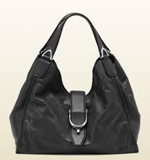 New Gucci Black Washed Soft Calf Leather Medium  Stirrup  Hobo Bag 296856  1000