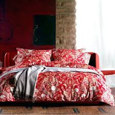 red bedspreads king size home thread count high end cotton sateen printing paisley flowers leaves duvet