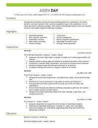 Marketing Resume Skills Gorgeous Marketing CV Templates CV Samples Examples