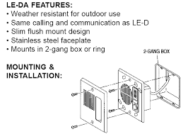 aiphone le series le d le da le dl door stations, surface and flush AT&T U-verse Nid Wiring-Diagram surface and flush mount