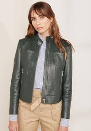 sportmax code women s pontente leather look jacket green collar neck with press stud detaillong sleeves with zippered cuffs sp737at12ppj njwdrbx