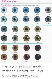 1998 Eye Chart Eye Color Circle The Eye Color That Is The