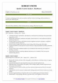 Quality Control Analyst Resume Samples Qwikresume