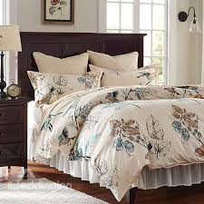 rural flower and birds print 4 piece cotton bedding sets duvet cover