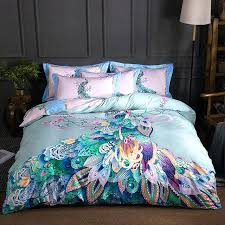 peacock bedding new cotton printed colourful peacock bedding set high quality duvet cover set peacock blue peacock bedding