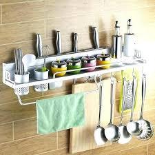 wall mounted utensil holder new space aluminum kitchen shelf cooking tools hook rack storage w kitchen utensil