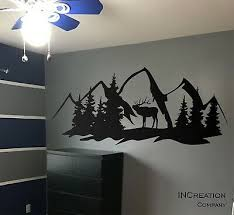 forest deer mountains wall decal