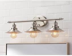 lighting over bathroom mirror. 3-Light Brushed Nickel Retro Vanity Light Above Mirror Bath Fixture Lamp New #HomeDecoratorsCollection Lighting Over Bathroom