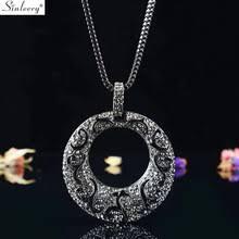 SINLEERY <b>Vintage Big</b> Hollow Pattern <b>Round</b> Pendant Necklace ...