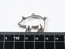 空枠 豚 シルバー 22mm 1個 1ヶ アニマル 動物 どうぶつ ピッグ フレーム レジン 枠 小さめ レジン台 レジン枠