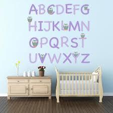 grey owl alphabet wall decal set