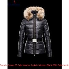 Canada Goose 59 Sale Moncler Jackets Women Black With Detachable Fur Cap  And Waistband Mc1047