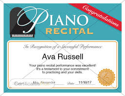 Piano Certificate Template Piano Recital Certificate Piano Award Printables Child Certificate