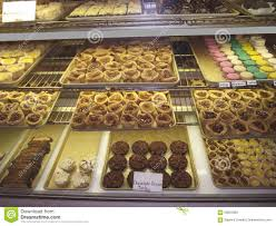 Cookies And Pastries At A Counter Fresh Market Bakery Or Cafe