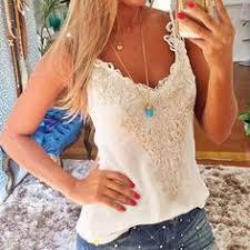 <b>Sweet V</b>-<b>Neck</b> White Lace Spliced Short Sleeve T-Shirt For Women ...