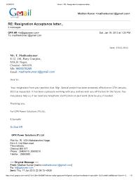 Offer Letter Acceptance Mail Format Gmail Re_ Resignation Acceptance Letter