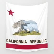 california republic landscape flag wall