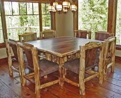 Rustic Log Kitchen Tables With Simple 8 Chairs Armless Rustic