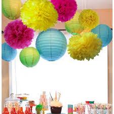 Pom Pom Decorations Aliexpresscom Buy 11pcs Fuchsiablueyellow Party Decorations