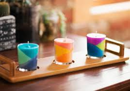 Place these color block candles on your dresser, nightstand, or on your  desk.