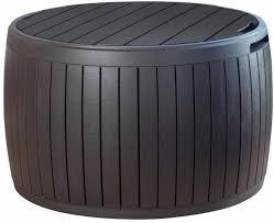 37 Gallon Resin Storage Circular Deck Box Contemporary Patio Decor New Contemporary Patio Storage Outdoor Cushions Deck Box Storage