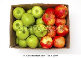 green and red apples. box with green and red apples isolated on white background