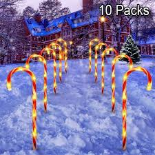 Candy Christmas Lights Zalalova Candy Cane Lights 10 Packs Christmas Pathway Marker Candy Outdoor Lighted 21in Tall Waterproof Candy Cane Decorations Light Up Garden Patio