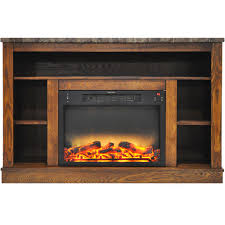 home home décor electric fireplaces fireplace mantels seville 47 in electric fireplace with enhanced log insert and walnut mantel cam5021 1wallg2