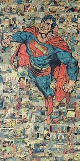 austin based collage artist mike alcantara made this one of kind superman collage entirely out of ic book pieces it meres 48 inches in height and 24
