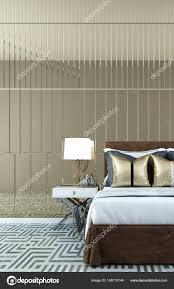 Das Interior Design Des Luxus Schlafzimmer Und Spiegel Wand
