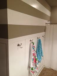 semi gloss paint bathroom. DIY Batten Board And Rugby Stripes In Girls/hall Bath. Behr White Semi Gloss Paint Bathroom M