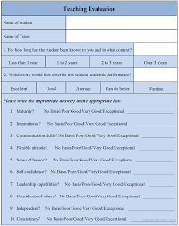 Teaching Evaluation Form Template