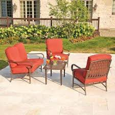 deck furniture home depot. Plain Depot Oak Cliff 4 Piece Metal Outdoor Deep Seating Set With Chili Cushions Home  Depot Furniture Sliders   Intended Deck Furniture Home Depot I