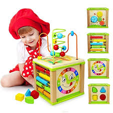 Amazon.com: Titiyogo 5-in-1 Activity Cube Toys Baby Educational Wooden Bead Maze Shape Sorter for 1 Year Old Boys Girls Kids Toddlers Gifts