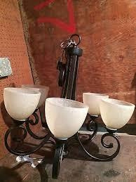 hampton bay renae 5 light oil rubbed bronze chandelier euc