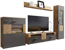 Helvetia Wobona TV Wall Unit Set wotan Oak/White ... - Amazon.com