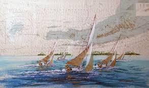Paintings On Nautical Charts Sombrero Key Nautical Chart 38x56 Florida By Kerry Hallam