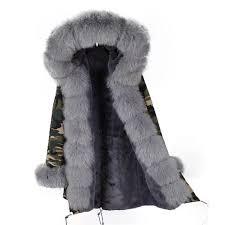 khaki army fox fur collar parka coat grey fox fur