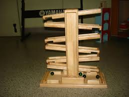 finished marble run made of finger jointed rubber
