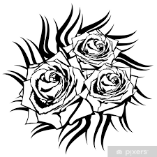 Nálepka černá Růže Na Bílém Pozadí Tetování Element Pixerstick