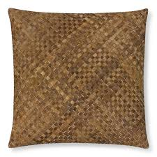 woven leather hide pillow cover brown